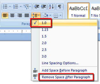 how to put spacing in word
